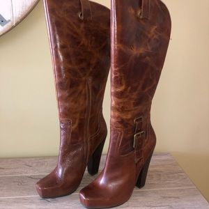 Jessica Simpson Hosana Mahogany Leather Boots